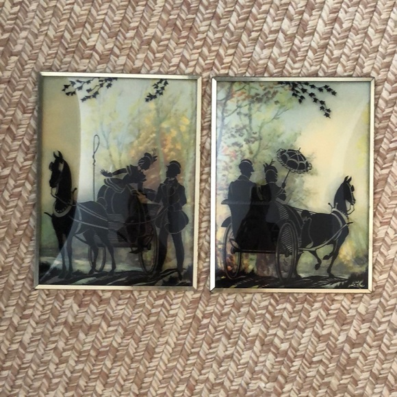 Vintage Other - Vintage silhouette wall hangings convex glass